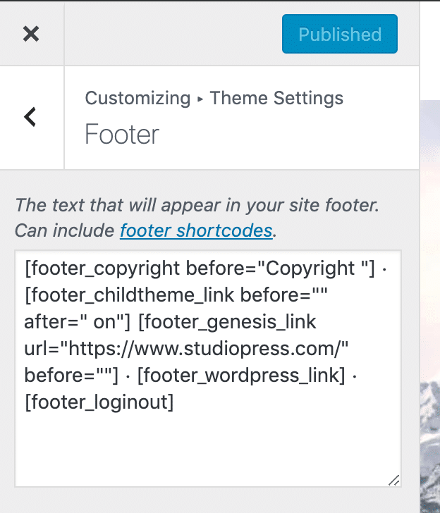 Footer credits textarea in Genesis Theme Settings in the Customizer.